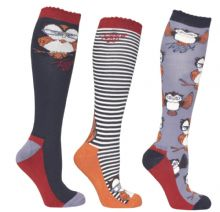 TOGGI PACK OF 3 HARTON OWL  SOCKS - RRP £17.00